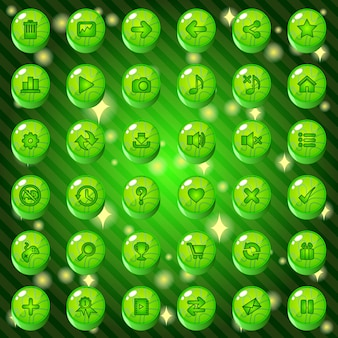 Buttons and icon set design for game or web theme is green.