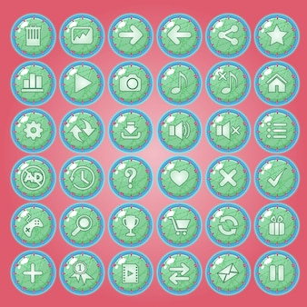 Buttons icon set for game interfaces.