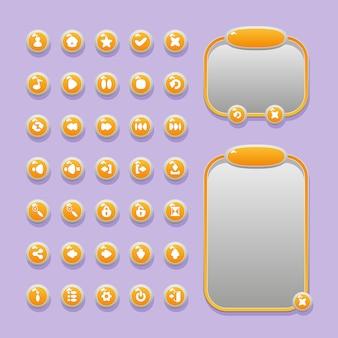 게임 및 앱용 게임 사용자 인터페이스 ui 디자인을위한 버튼, 아이콘 및 메뉴 창