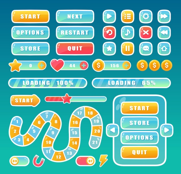 Buttons for mobile user game ui set