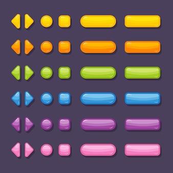 ゲームやアプリのデザイン用のさまざまな色や形のボタン。