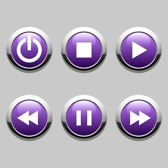 Buttons for player: stop, play, pause, rewind, fast forward, power.