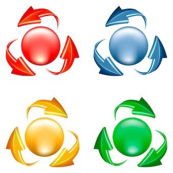 Set di pulsanti. icona 3d di sfera e frecce in vari colori