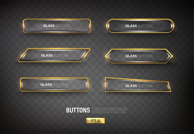 Buttons set web steel on background color black 12
