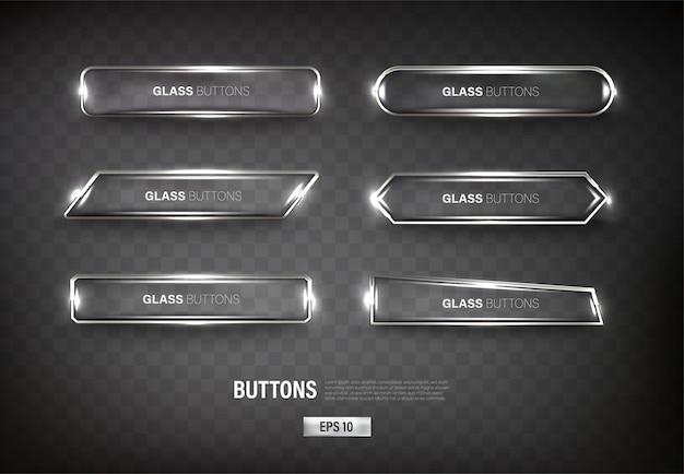 Buttons set web steel on background color black 13
