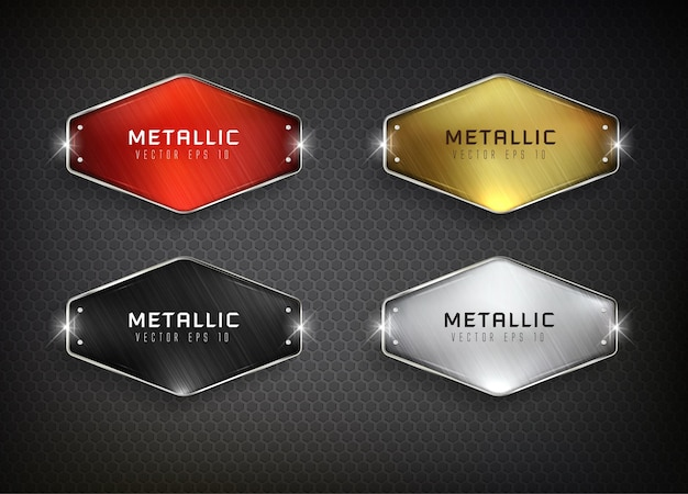 Buttons set web steel on background color black 4