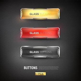 Buttons set web steel on background color black 7edit