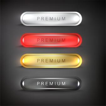 Buttons set web steel on background color black 8edit