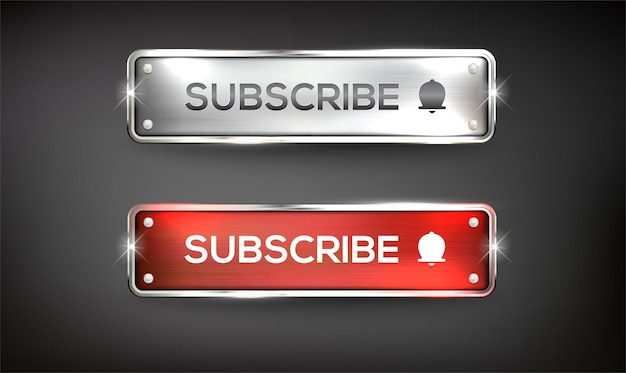 Buttons subscribe steel color red and  silver on background color black