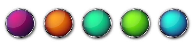 Пуговицы с хромированной рамкой. иллюстрации. кнопки в хромированной рамке. набор красочных круглых кнопок