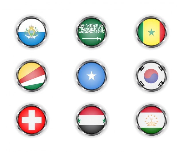 국가 깃발의 금속 프레임 버튼입니다. 프리미엄 벡터