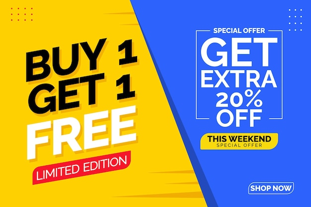 Buy 1 get 1 free banner template illustrations sale poster