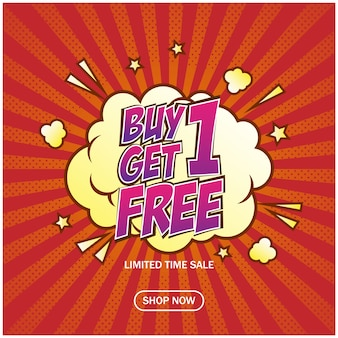 Buy 1 get 1 free sale banner in comic style template