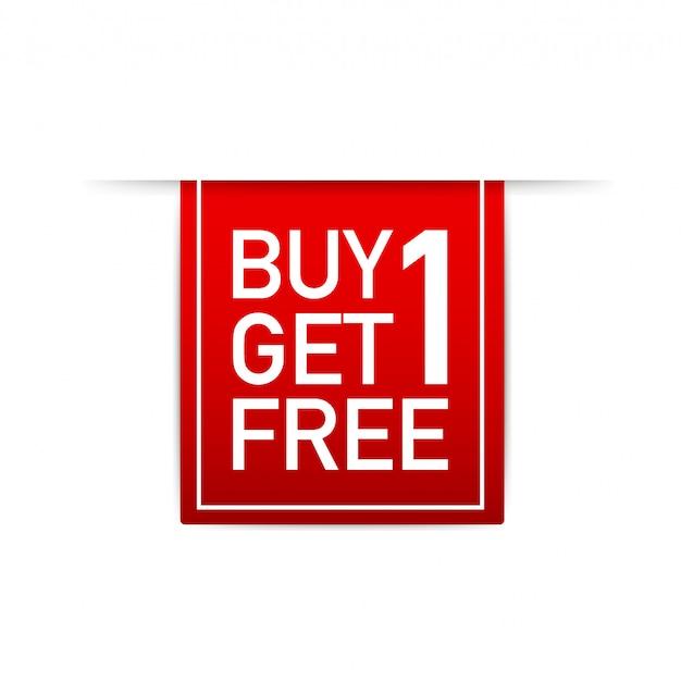 Красная лента buy 1 get 1 free, бирка продажи, шаблон дизайна баннера. иллюстрации.