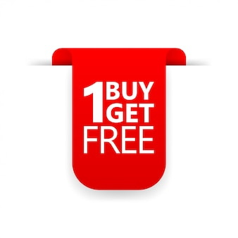 Buy 1 get 1 red ribbon icon