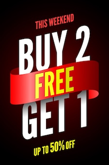 Buy 2, free get 1 sale banner with red ribbon.