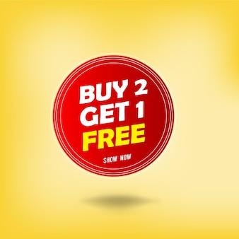 Buy 2 get 1 free vector label design