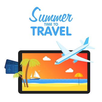 Buy air tickets. traveling on airplane, planning a summer vacation, tourism and journey objects and passenger luggage.