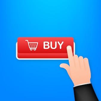 Купить значок кнопки. значок корзины покупок. векторная иллюстрация штока.