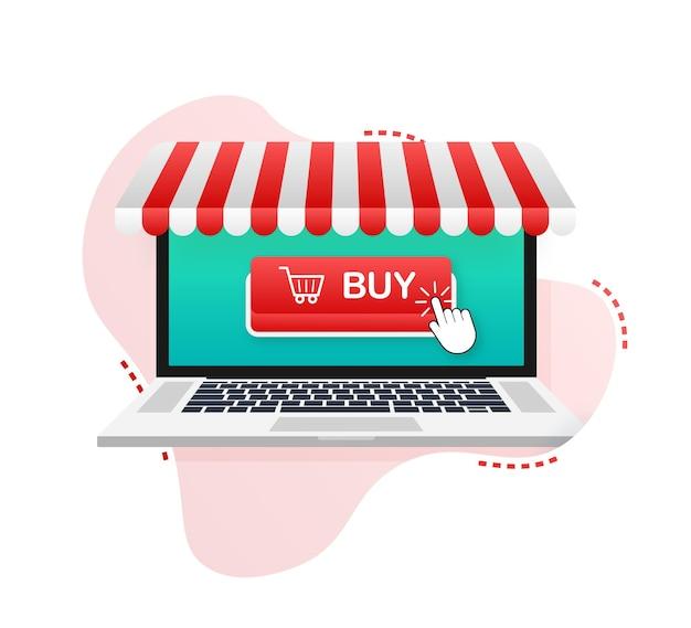 Купить кнопку на экране ноутбука. значок корзины покупок. векторная иллюстрация штока.