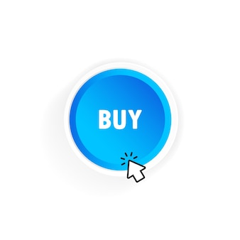 Buy button with cursor. vector on isolated white background. eps 10.