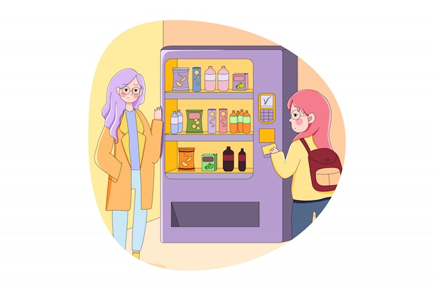 買う、飲む、技術、ショッピングのコンセプト Premiumベクター