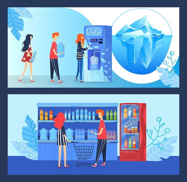 Buy drink water vector illustration. cartoon flat buyer people buying fresh clean drinking water in automatic beverage vending machine or grocery shop