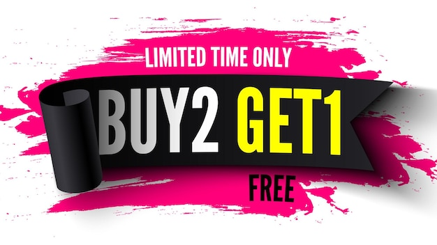 Buy free get sale banner with black ribbon and pink brush strokes illustration