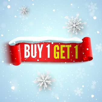 Buy, free get sale banner with red ribbon, snow cap and snowflakes. .