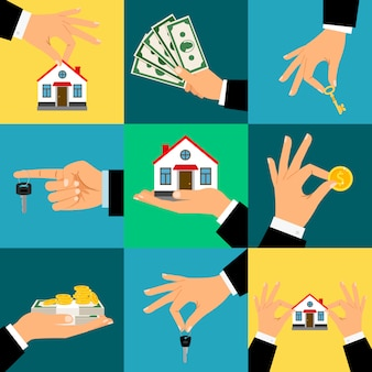Buy house hands   hand holds home or house key and money