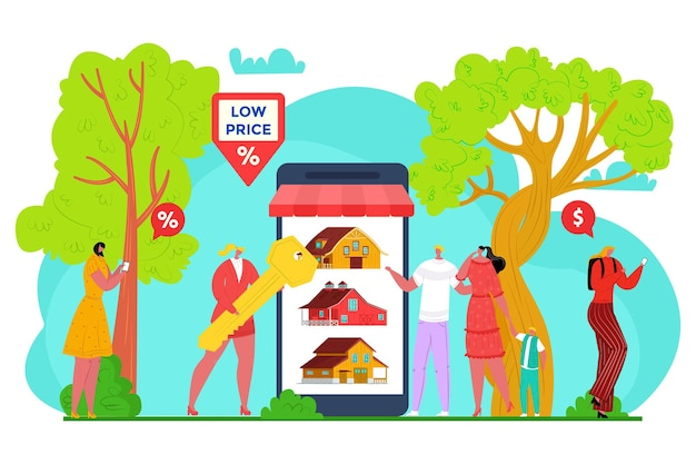 Buy house promo for sell deal vector illustration man woman character buy property at smartphone app...