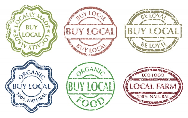 Buy local sign. grunge rubber multicolor stamps set