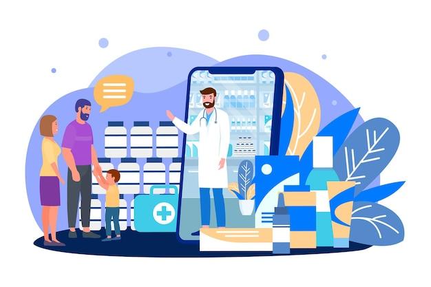 Купить лекарство онлайн, векторные иллюстрации. аптека в огромном смартфоне, плоский семейный персонаж использует мобильное приложение с мужчиной-врачом с устройства, интернет-магазин медицинских товаров. фармацевтические таблетки, смеси, капли.