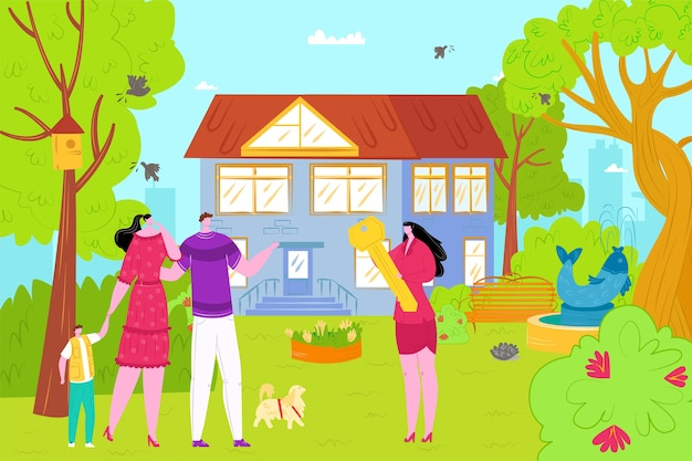 Buy new house concept, real estate investment  illustration. new home for family with kids, buying property. real estate agent gives key from house with garden to happy couple with child.