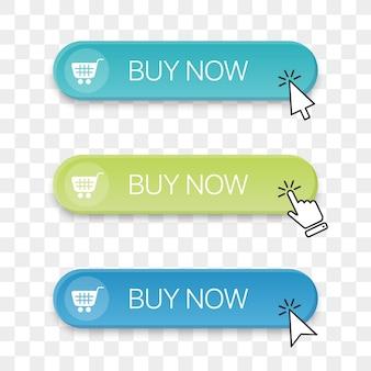 다른 클릭 손 커서가 있는 지금 구매 버튼 아이콘 모음