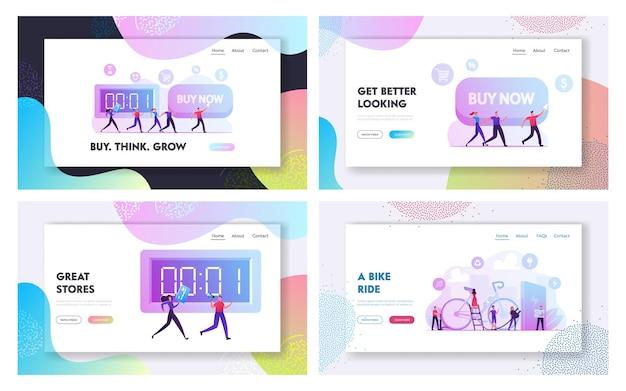 今すぐ購入キャンペーン、人々はエコ自転車輸送ウェブサイトのランディングページセットを使用します。