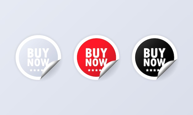 Buy now icon or sticker set and buy now labels set