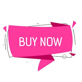 Buy now lettering in pink origami speech bubble with triangles