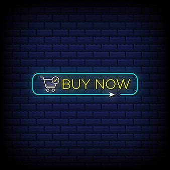Buy now neon sign style text with shopping cart icon