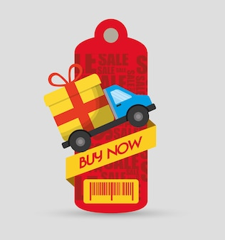 Buy now tag price barcode truck delivery gift