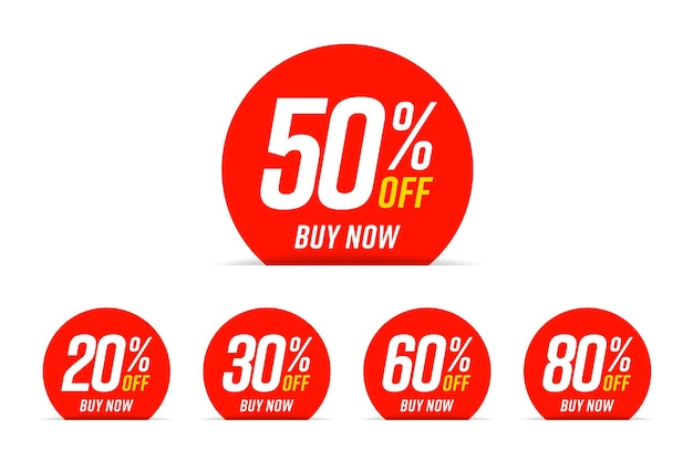 Buy now with discount, round sticker. set of red sale label