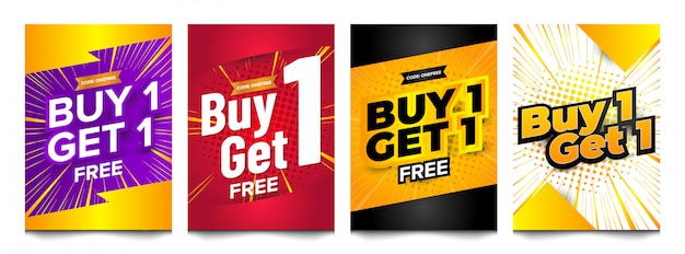 Buy one free vertical banner design set collection