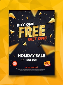 Buy one get one free dark flyer template with golden triangles