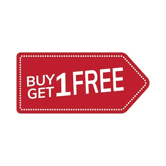 Buy one get one free promotional tag vector