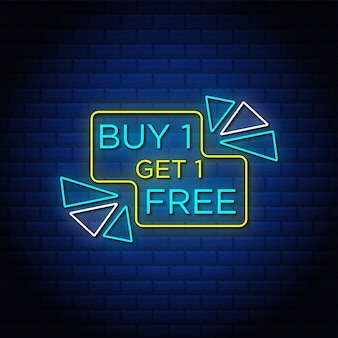 Buy one get one free sale banner in neon style.