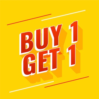 Buy one get one yellow banner design