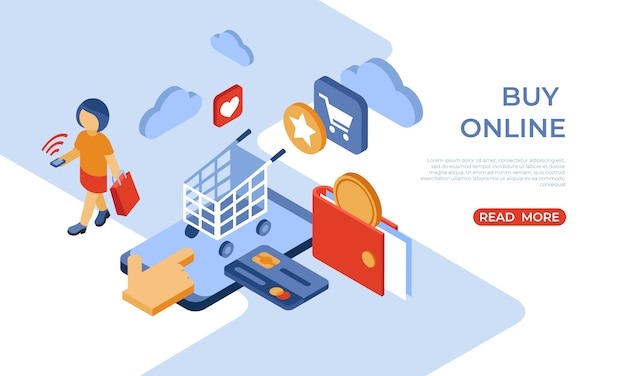 Buy online store isometric landing page