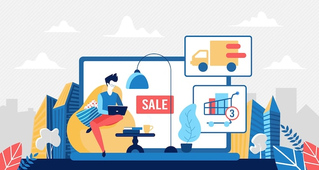 Buy in online store, stay at home and shopping concept