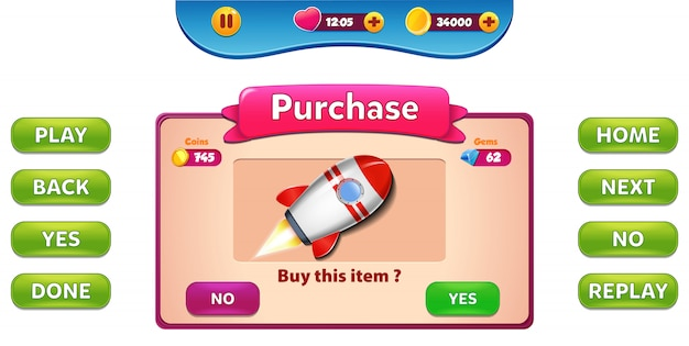 Buy and purchase menu pop up with stars score and buttons gui