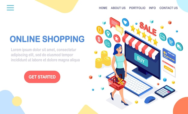 Buy in retail shop by internet landing page.